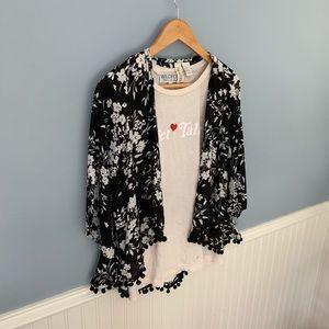 Pom detail black white floral mini Kimono